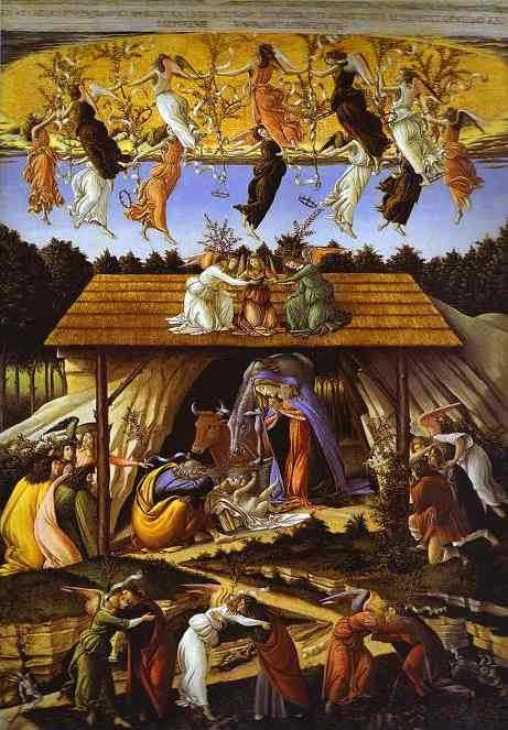 famous painting Mystic Nativity of Sandro Botticelli
