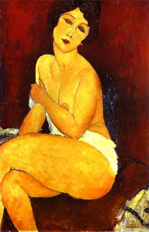 famous painting Seated Nude on Divan of Amedeo Modigliani