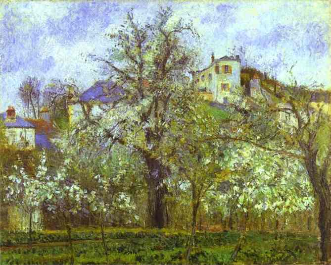 famous painting Vegetable Garden and Trees in Blossom, Spring, Pontoise of Camille Pissarro