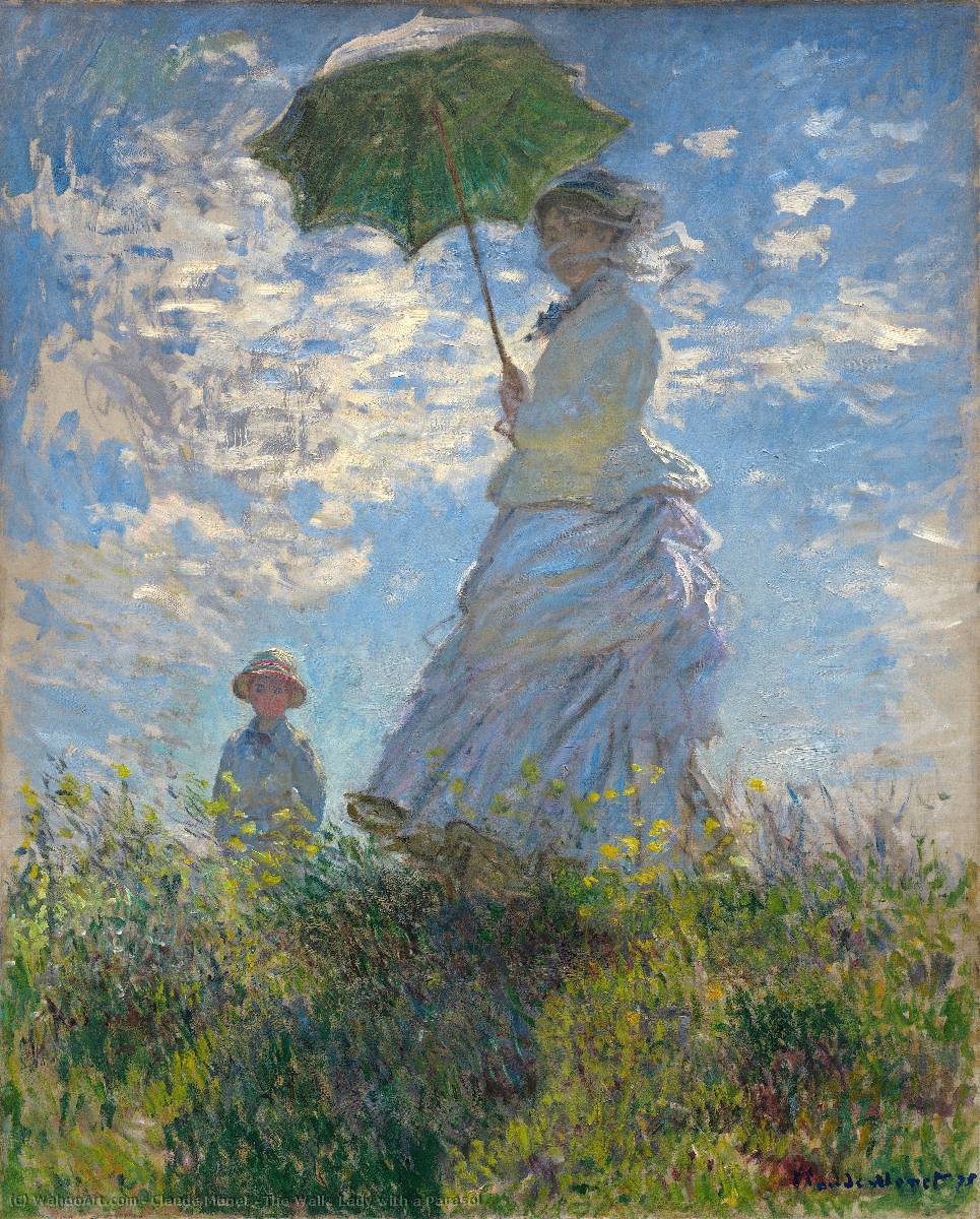 famous painting The Walk. Lady with a Parasol of Claude Monet