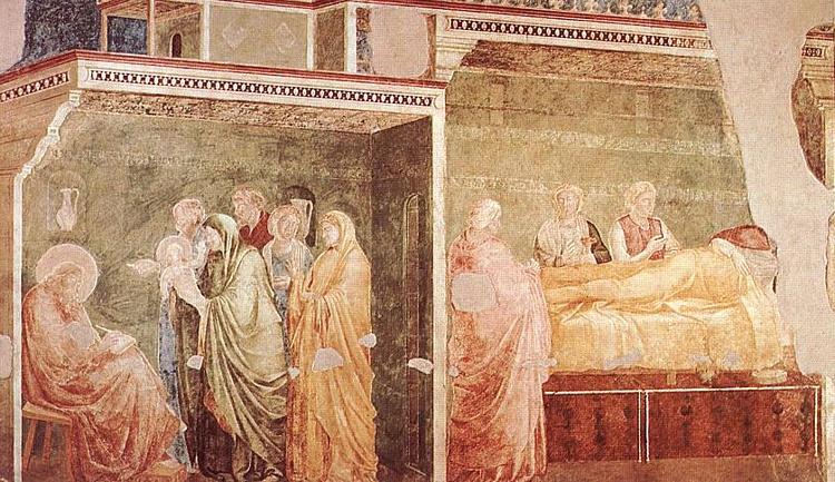Order Art Reproductions | Life of St John the Baptist - [02] - Birth and Naming of the Baptist by Giotto Di Bondone | AllPaintingsStore.com