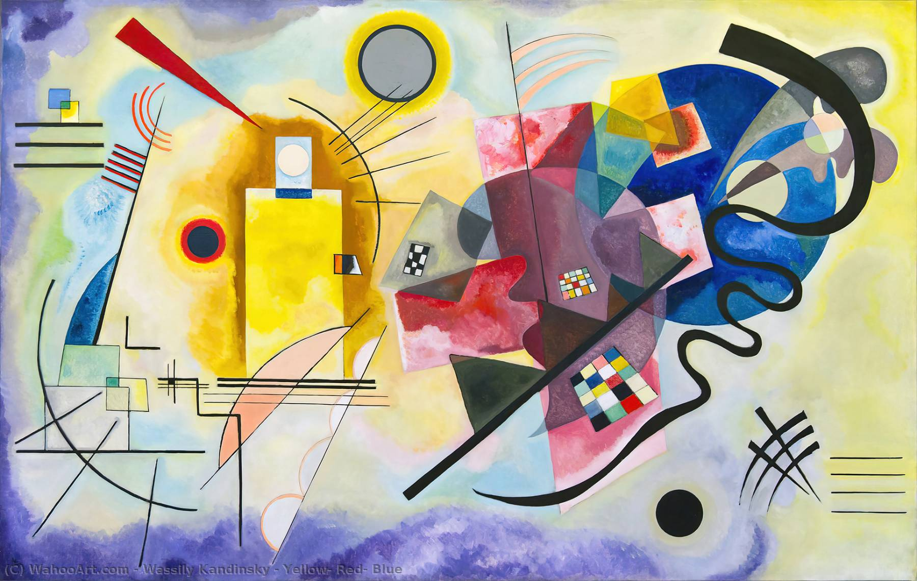 Order Paintings Reproductions | Yellow, Red, Blue by Wassily Kandinsky | AllPaintingsStore.com