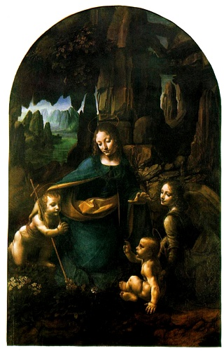 famous painting Virgin of the Rocks - London of Leonardo Da Vinci