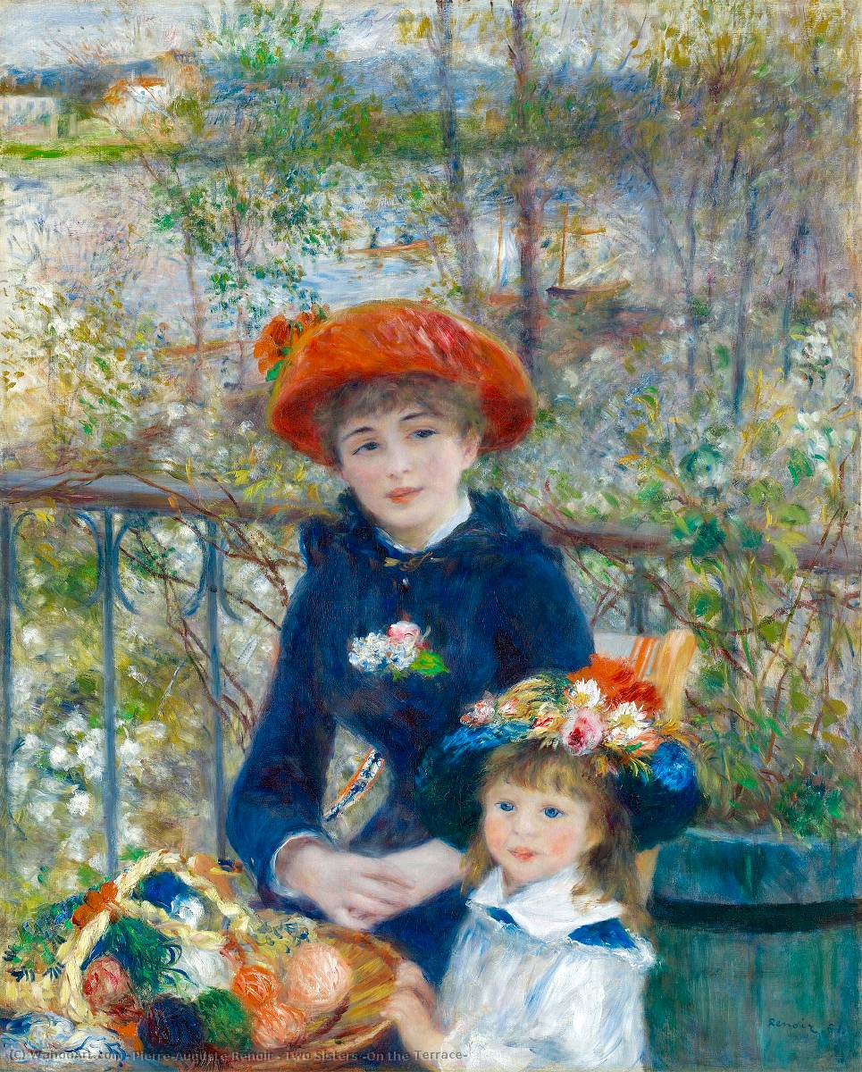 famous painting Two Sisters (On the Terrace) of Pierre-Auguste Renoir