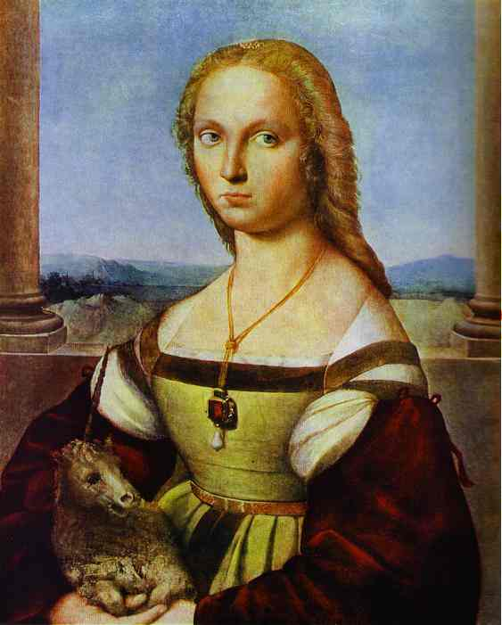 famous painting Portrait of a Lady with a Unicorn of Raphael (Raffaello Sanzio Da Urbino)
