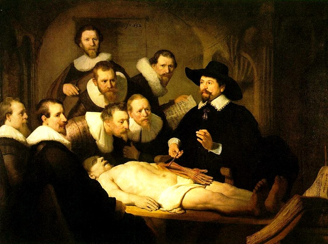 famous painting The Anatomy Lecture of Dr. Nicolaes Tulp [1632] of Rembrandt Van Rijn
