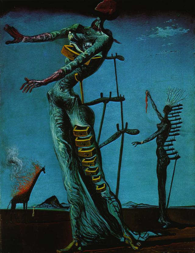 famous painting The Burning Giraffe, 1937 of Salvador Dali