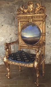 Salvador Dali - Armchair with Landscape Painted for Gala's Chateau at Pubol, circa 1974