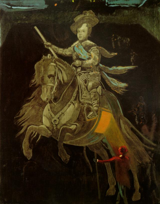 famous painting Untitled - Equestrian Figure of Prince Baltasar Carlos, after Velazquez, with Figures in the Courtyard of the Escorial, 1982 of Salvador Dali
