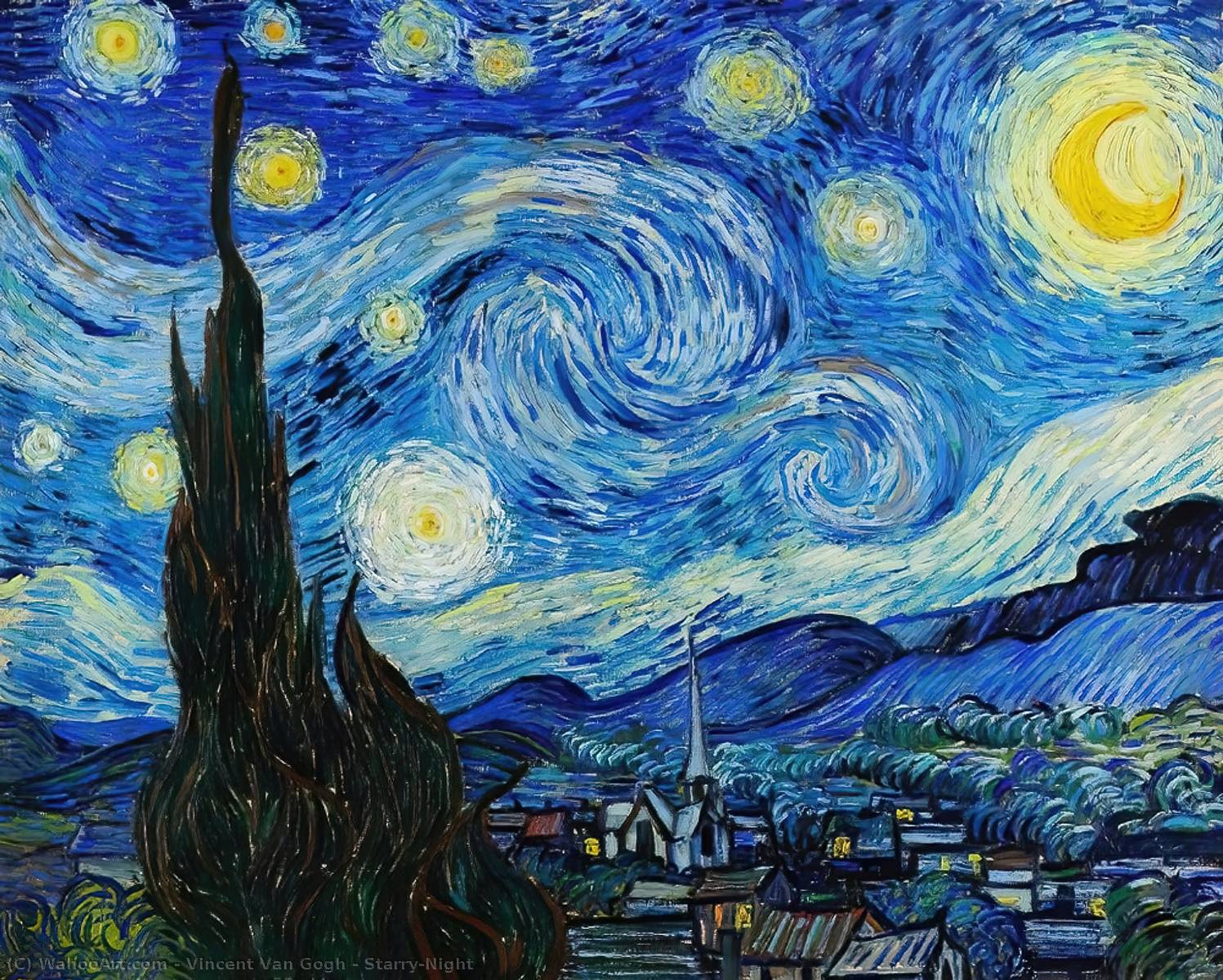 Order Art Reproductions | Starry-Night by Vincent Van Gogh | AllPaintingsStore.com