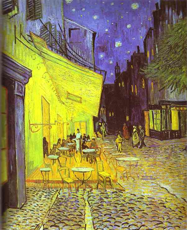 Order Paintings Reproductions | Café Terrace at Night by Vincent Van Gogh | AllPaintingsStore.com