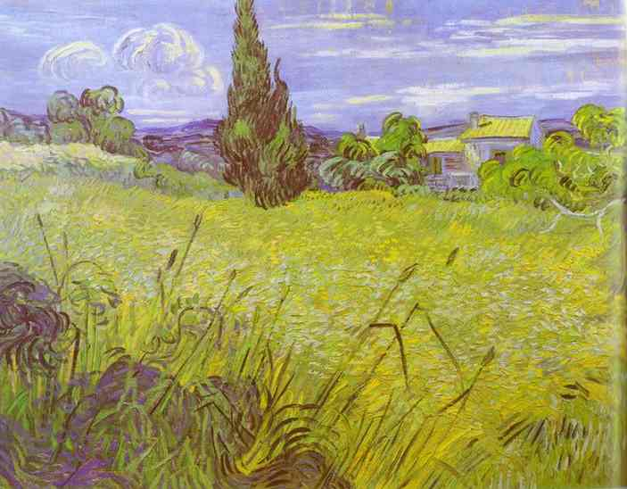 famous painting Green Wheat Field with Cypress. Saint-Rémy of Vincent Van Gogh