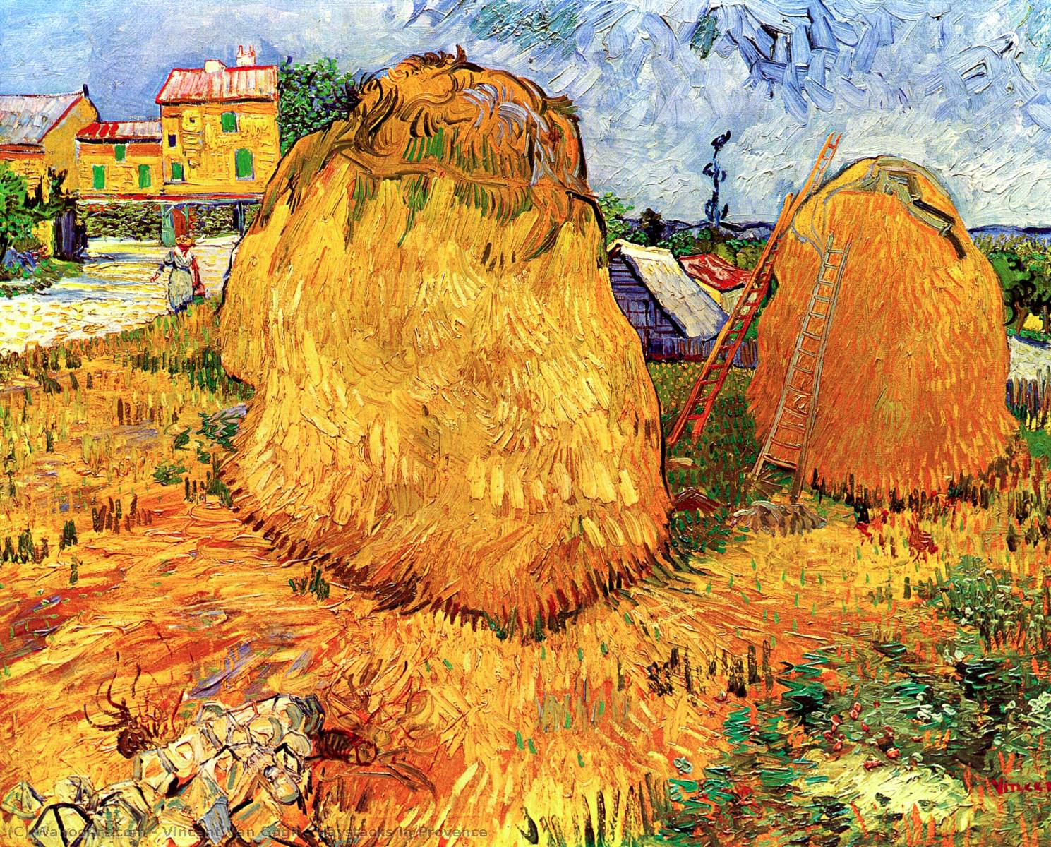 famous painting Haystacks in Provence of Vincent Van Gogh
