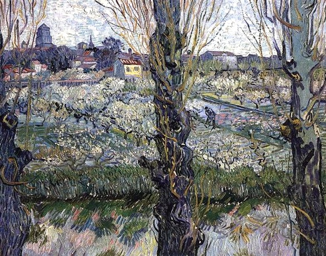 famous painting Orchard in Blossom with View of Arles of Vincent Van Gogh