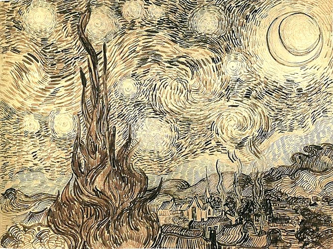 famous painting Starry Night drawing of Vincent Van Gogh