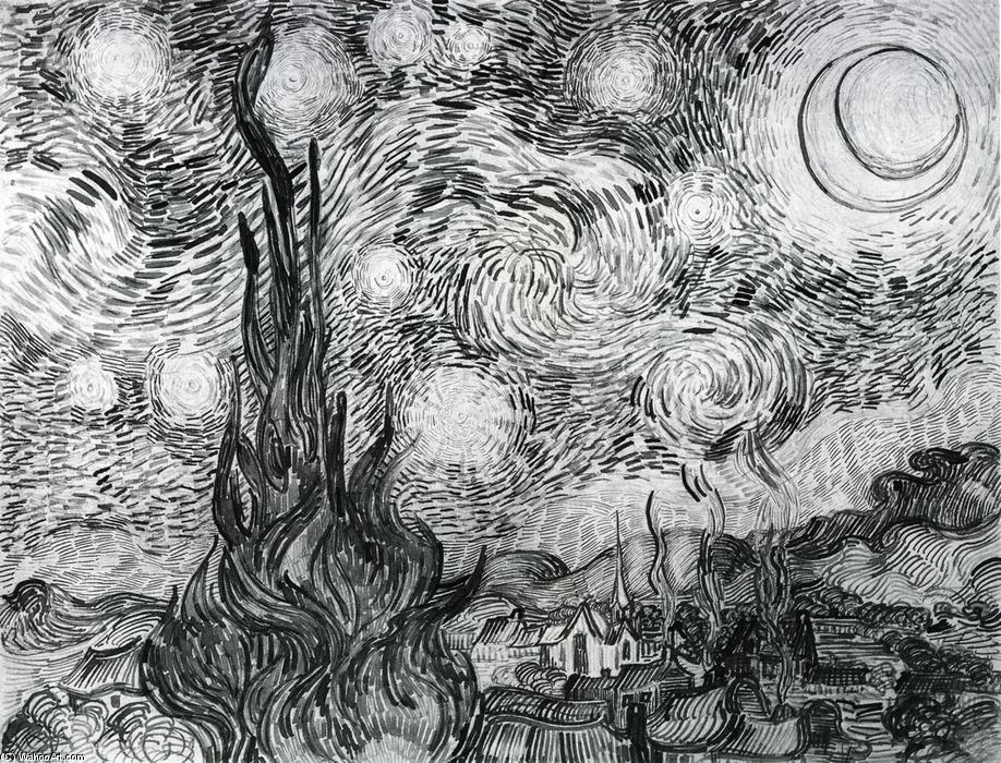 Order Art Reproduction : Starry Night (Drawing) by Vincent Van Gogh | AllPaintingsStore.com