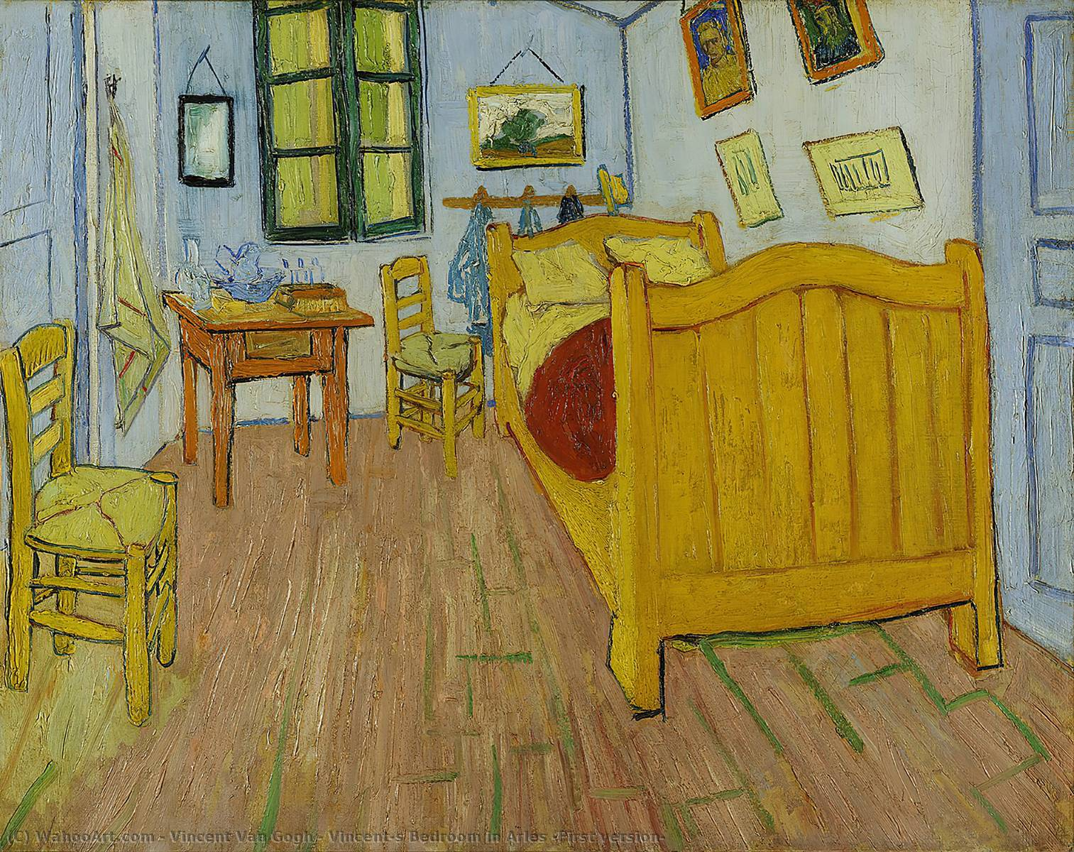 Order Paintings Reproductions | Vincent's Bedroom in Arles (First version) by Vincent Van Gogh | AllPaintingsStore.com