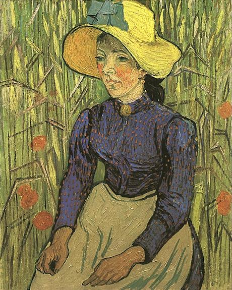 famous painting Young Peasant Woman with Straw Hat Sitting in the Wheat of Vincent Van Gogh