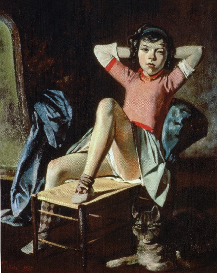 famous painting Girl with Cat of Balthus (Balthasar Klossowski)