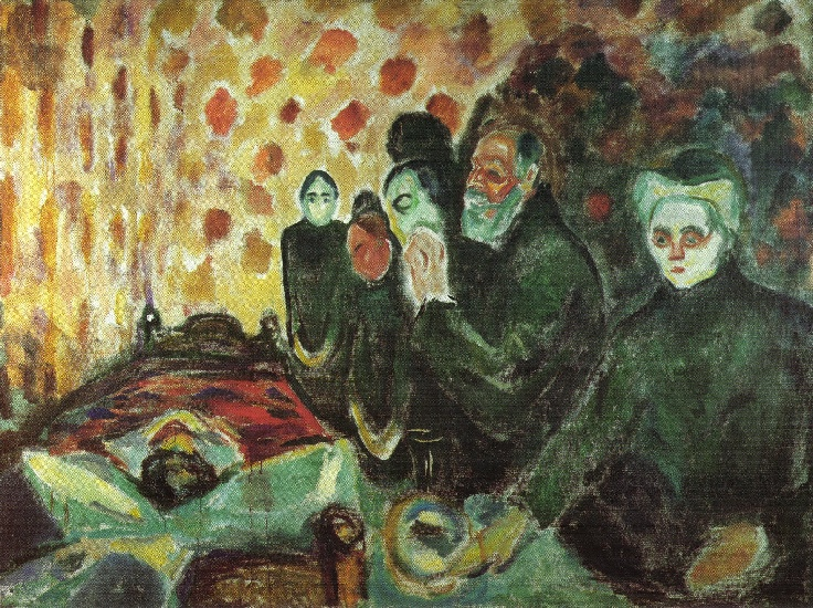 famous painting Near the bed of death (fever) of Edvard Munch