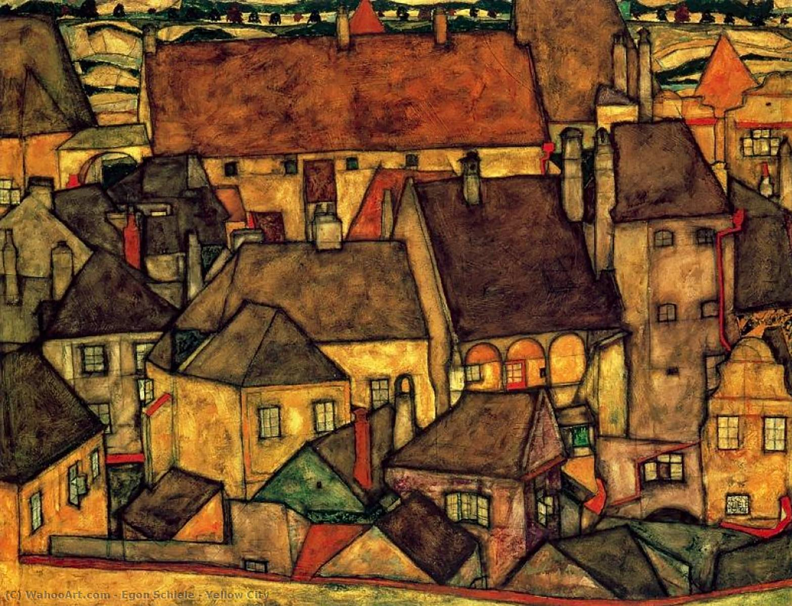 famous painting Yellow City of Egon Schiele