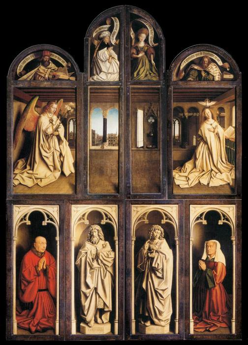 famous painting The Ghent Altarpiece (wings closed) of Jan Van Eyck