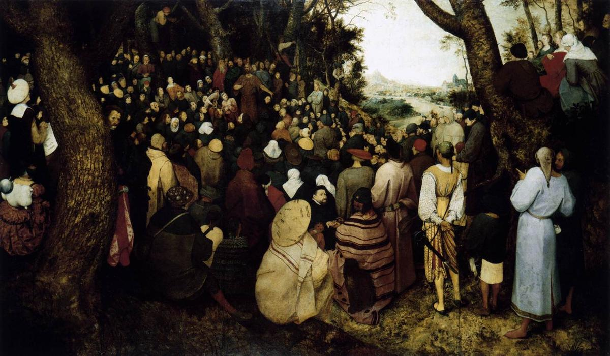 famous painting The Sermon of St. John the Baptist of Pieter Bruegel The Elder
