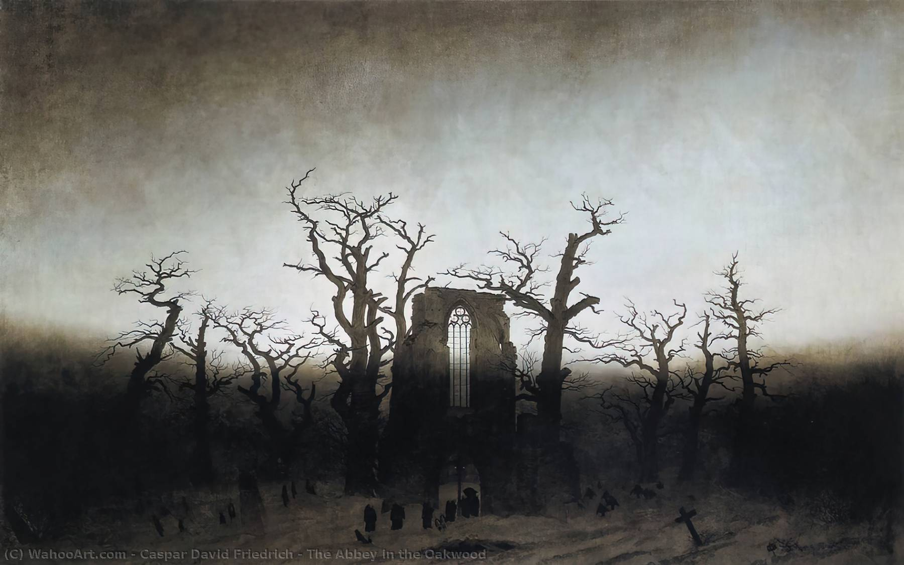 famous painting The Abbey in the Oakwood of Caspar David Friedrich