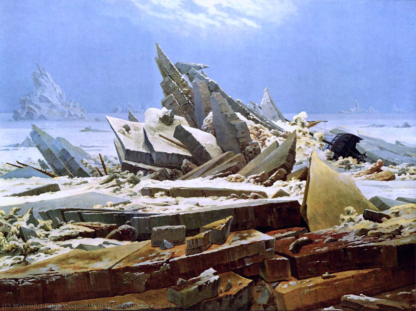 Order Paintings Reproductions | The Sea of Ice by Caspar David Friedrich | AllPaintingsStore.com