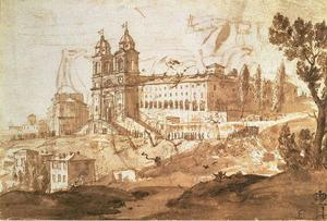 Claude Lorrain (Claude Gellée) - View of the Church of S. Trinita dei Monti, Rome