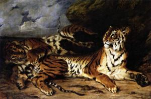 Eugène Delacroix - A Young Tiger Playing with its Mother