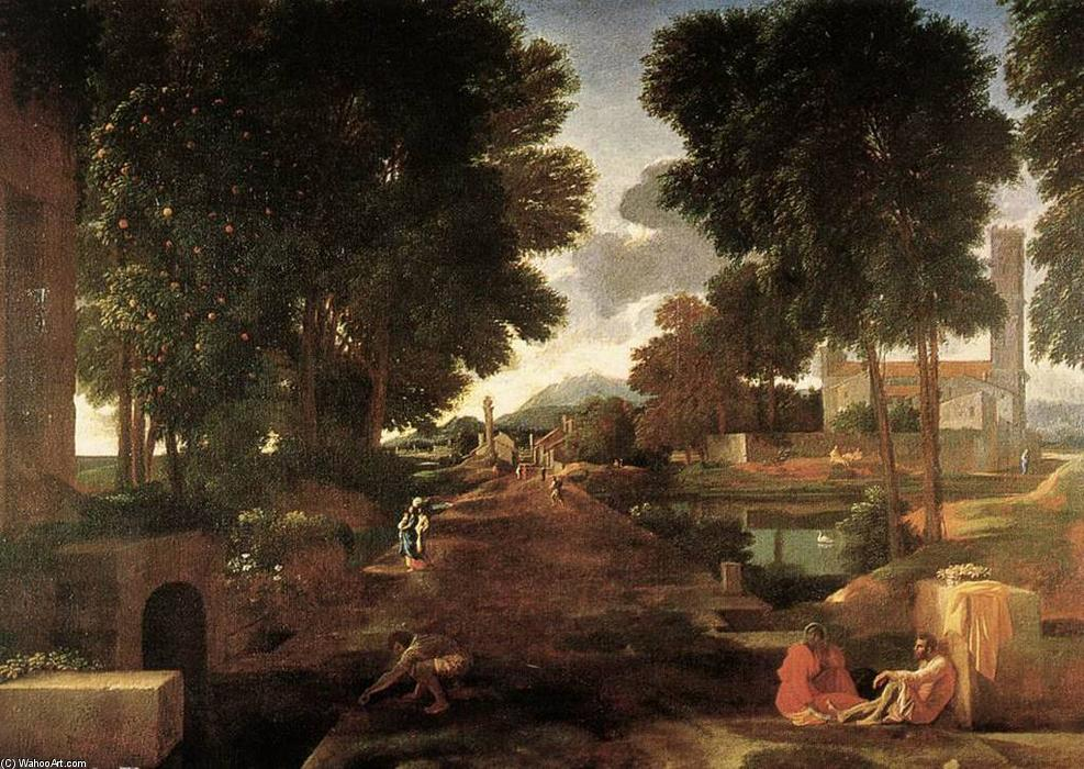 famous painting A Roman Road of Nicolas Poussin