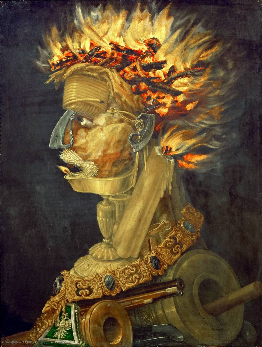 famous painting The Fire of Giuseppe Arcimboldo