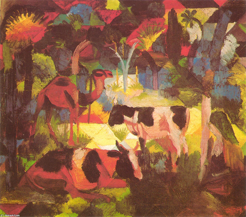 famous painting Landscape with Cows and Camel of August Macke