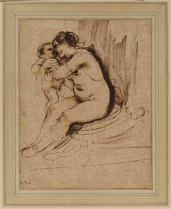 Guercino (Barbieri, Giovanni Francesco) - Nude woman, seated, embracing a child