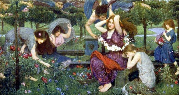 famous painting Flora and the Zephyrs of John William Waterhouse