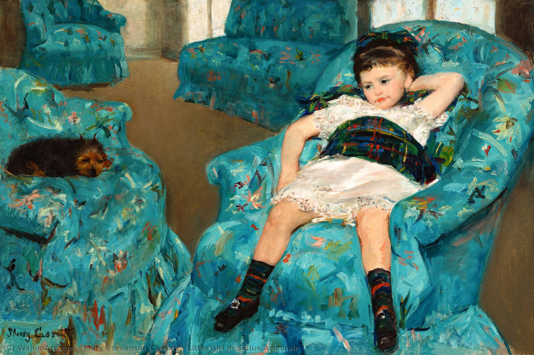 Order Art Reproductions | Little Girl in a Blue Armchair by Mary Stevenson Cassatt | AllPaintingsStore.com
