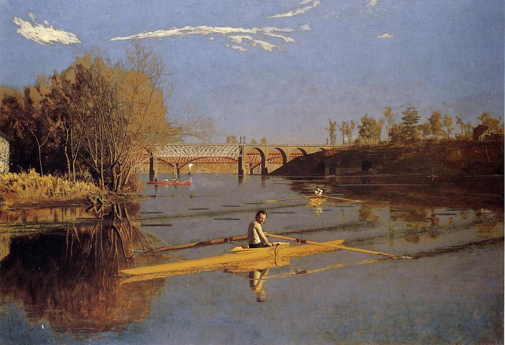 famous painting Max Schmitt in a Single Scull of Thomas Eakins