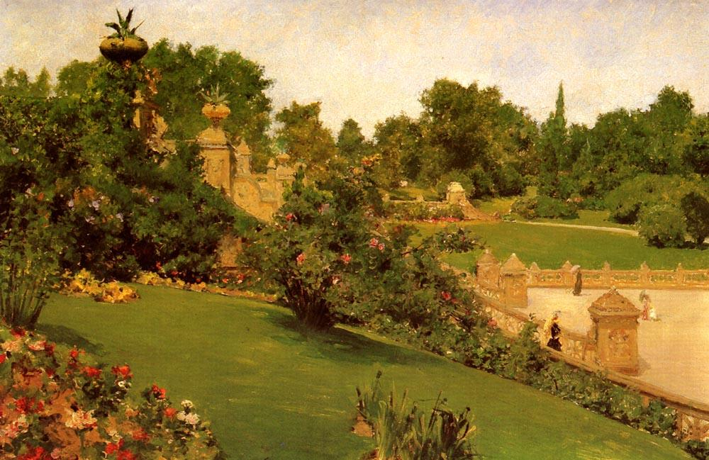 famous painting Terrace at the Mall, Central Park of William Merritt Chase