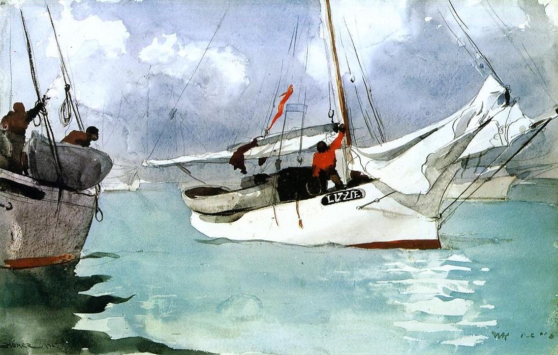 famous painting Fishing Boats, Key West of Winslow Homer