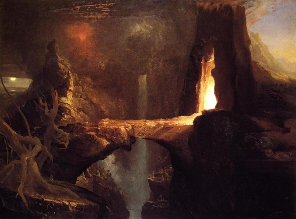 famous painting Expulsion. Moon and Firelight of Thomas Cole
