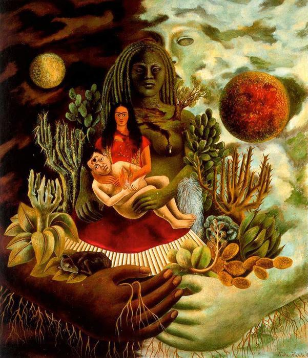 famous painting The Love Embrace of the Universe, The earth (Mexico), Myself, Diego and Señor Xó of Frida Kahlo