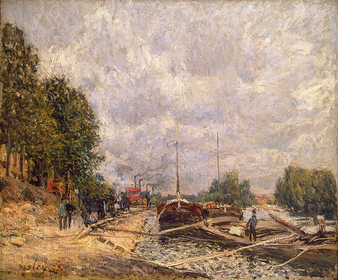 Order Art Reproduction : Barges at Billancourt by Alfred Sisley | AllPaintingsStore.com