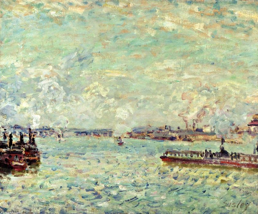 famous painting The Seine at Point du Jour of Alfred Sisley