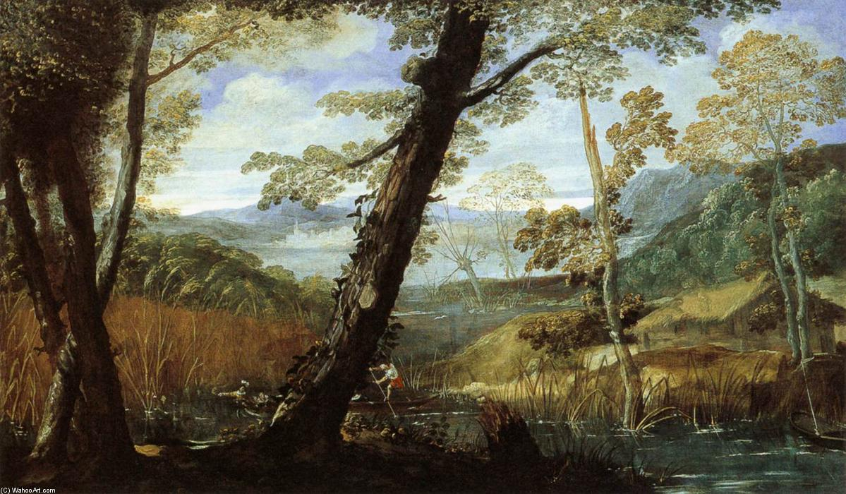 famous painting River Landscape of Annibale Carracci