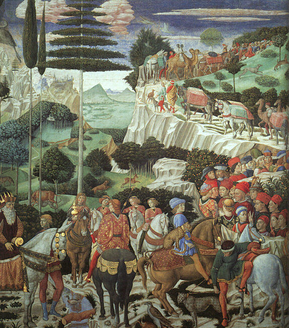 famous painting Procession of the Magus Melchoir of Benozzo Gozzoli