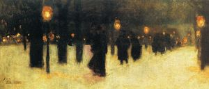 Frederick Childe Hassam - Across the Common on a Winter Evening