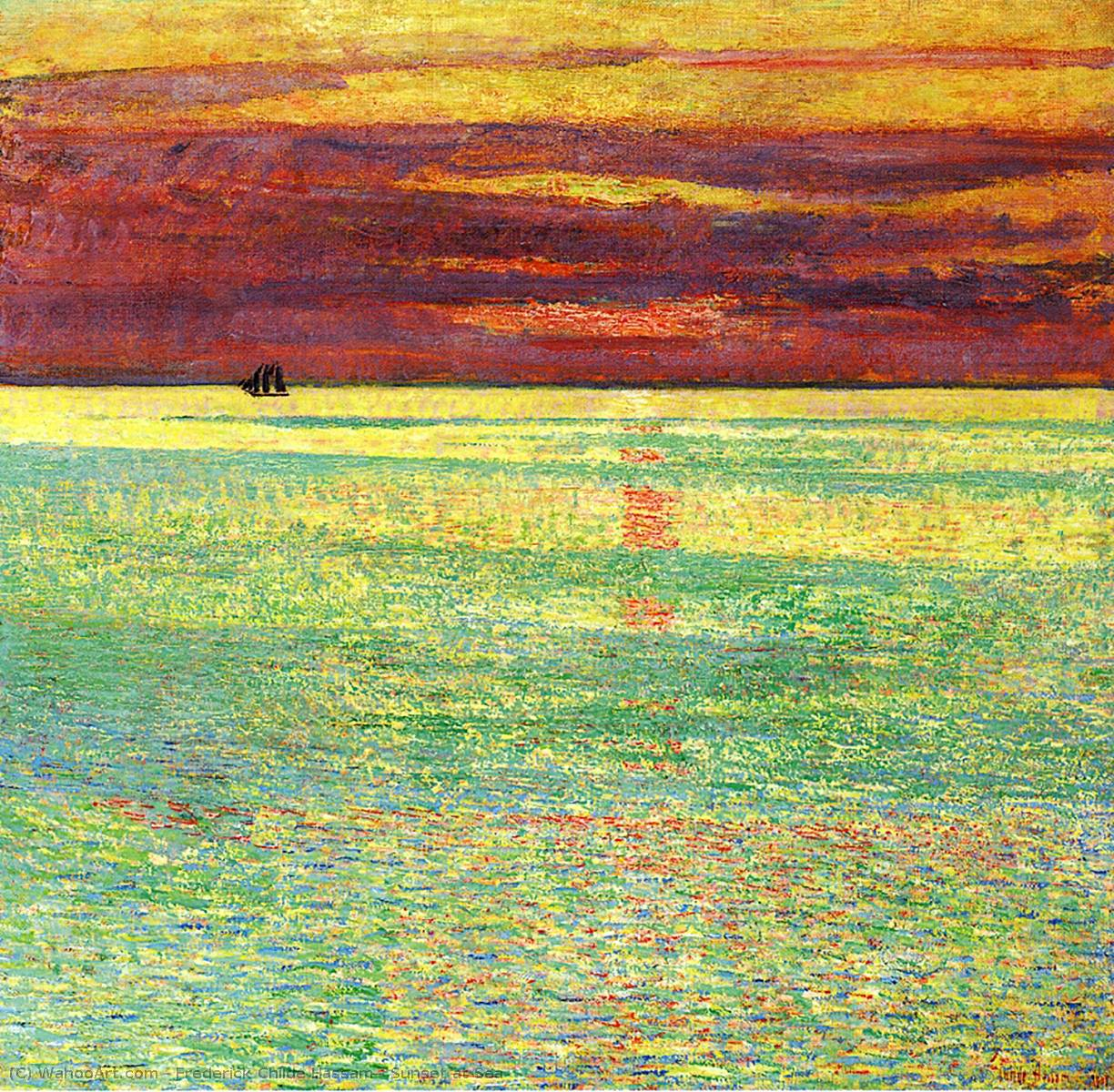 famous painting Sunset at Sea of Frederick Childe Hassam
