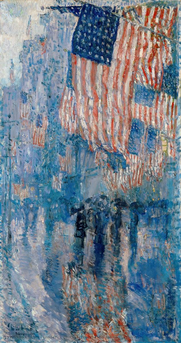 famous painting The Avenue in the Rain of Frederick Childe Hassam