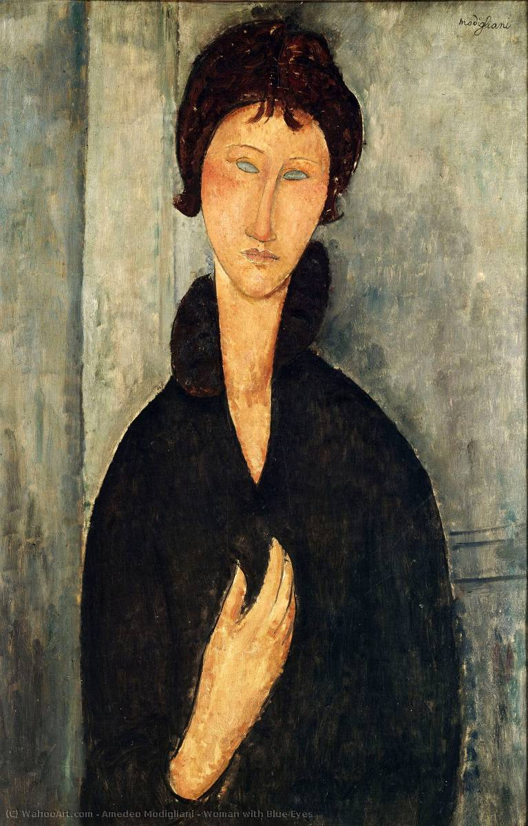 Famous Painting Woman With Blue Eyes Of Amedeo Modigliani